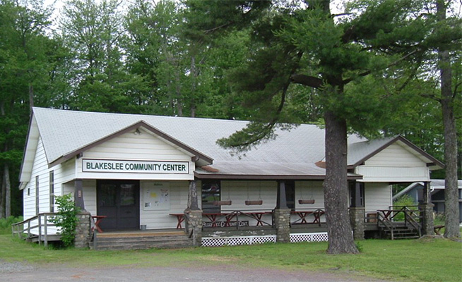 The Blakeslee Community Center, owned by the Blakeslee Community Association, as it looks today.