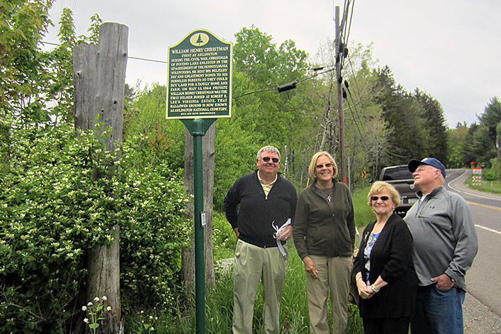 Barbara Christman Page, the great-grandniece of William Henry Christman, was present for the dedication of his historical marker on May 21, 2017. From left are Rick and Ruth Bodenschatz, who sponsored the marker, Barbara Christman Page, and her husband, Don Page.