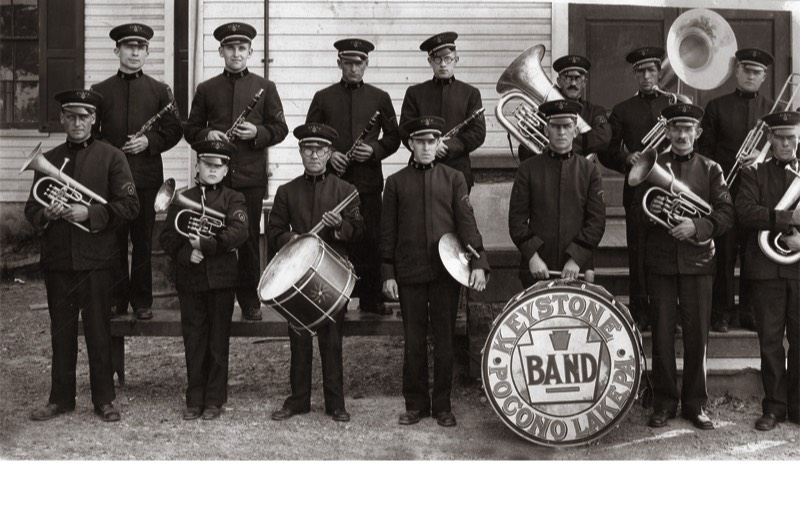 The Keystone Band of Pocono Lake, circa 1920, which performed at large community events.