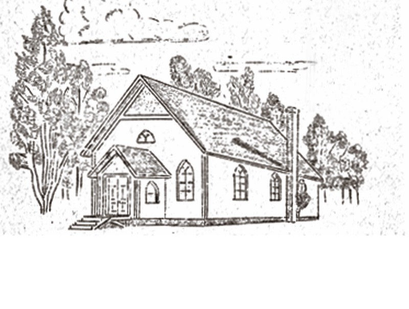 This sketch of the Locust Ridge Church was featured on a program at the Blakelee Methodist Church in 1946, from a series covering the history of Methodist churches in the area. Located on Locust Ridge Road off Route 940, it still exists as a church today.